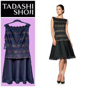 Tadashi Shoji Laser Cut A-Line Black Dress  Sz L